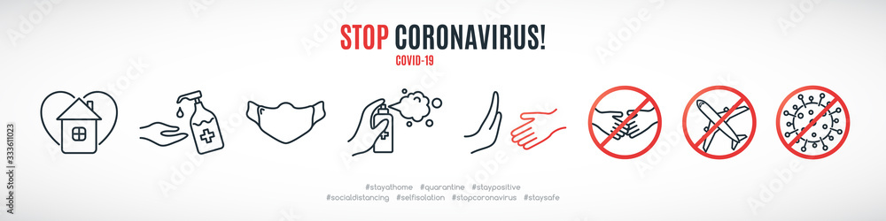 Fototapeta Simple line signs to prevent the spread of Coronavirus. Set of prohibition and warning icons. Wear mask and wash hands. COVID-19. Healthcare and medicine concept vector illustration.