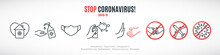 Simple Line Signs To Prevent The Spread Of Coronavirus. Set Of Prohibition And Warning Icons. Wear Mask And Wash Hands. COVID-19. Healthcare And Medicine Concept Vector Illustration.