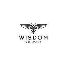 Hipster Owl Logo Line Linear S...