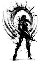 The Silhouette Of An Assassin Girl With Many Blades Of Blots Behind Her Back, She Stands Proudly Looking Forward, Dressed In A Hood, Her Hair Fluttering In The Wind. 2d Illustration.