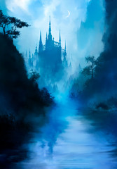 A beautiful fairytale landscape with a river in the foreground, and a huge tall castle in the distance, with many towers, it is shrouded in fog, we see a crescent moon in the sky. 2d