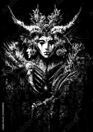 Vászonkép An ominous carnival mask with horns and many small details, her eyes are empty and black like an abyss