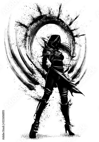 the silhouette of an assassin girl with many blades of blots behind her back, she stands proudly looking forward, dressed in a hood, her hair fluttering in the wind Canvas