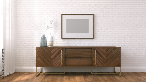 3d render mock up scandinavian room Tablou Canvas