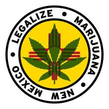 Round Legalize Marijuana New Mexico Flag Clipart 2