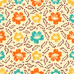Seamless abstract ikat pattern with the image of floral ornament.