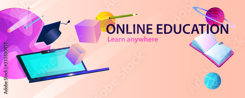 Horizontal abstract banner online education with laptop, cubes, books, planets and academic cap Fototapeta