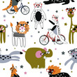 Hand drawn vector cute cartoon seamless pattern illustration animal with glasses, stars, bicycle on the white background
