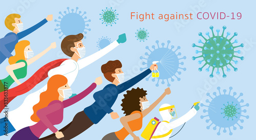 Valokuvatapetti People and Doctor be Superheroes to Fight Against Covid-19, Coronavirus