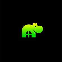 Hippo Logo With A Simple Concept