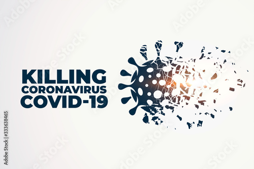 Fototapeta killing or destroying coronavirus covid-19 concept background