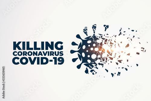 Fotografie, Obraz killing or destroying coronavirus covid-19 concept background
