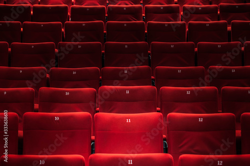 Photo Cinema auditorium with one reserved seat