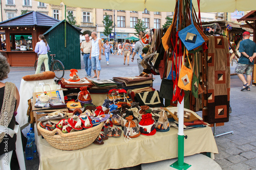 Fotografie, Tablou KRAKOW, POLAND - AUGUST 23,2018:   Annual folk fair at the Main Market Square