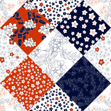 Seamless Floral Patchwork Pattern With Flowers. Filigree Oriental Ethnic Background. Floral Motifs. Vector Illustration .