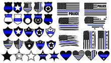 Set Of Cops Thin Blue Lines. C...