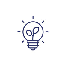 Light Bulb And Plant Line Icon
