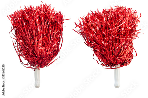 Canvas Print Red pompoms for cheerleaders hold sports cheer isolated on white background