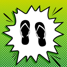 Flip Flop Sign. Black Icon On White Popart Splash At Green Background With White Spots. Illustration.