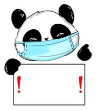 Hand Drawn Cute Panda Wearing ...