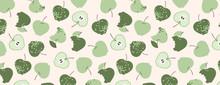 Green Apples Pattern. Hand Dra...