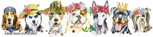 Foto Border from watercolor portraits of dogs for decoration