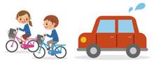 自転車で並走する男女...