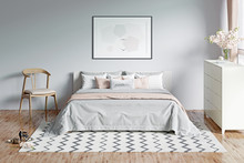 Modern Light Gray Romantic Bedroom With A Window, Flowers, A Horizontal Poster Under The Bed With Plaid And Pillows. Front View. 3d Render