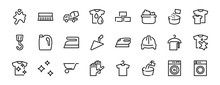 Simple Set Of Washing Related Vector Line Icons. Contains Icons Such As Washing Machine, Powder, Laundry, Dirty T-shirt And Much More. On A White Background, Editable Stroke. 48x48 Pixels Perfect