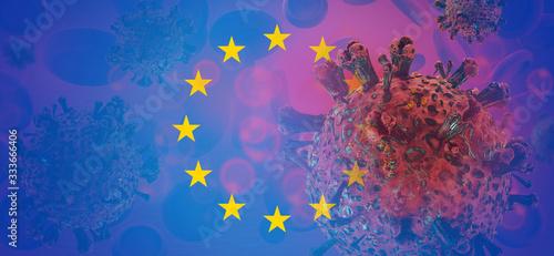 Obraz Flag of Europe Coronavirus Virus cell. Corona Virus detail symbolic virus cell. 3d-illustration - fototapety do salonu