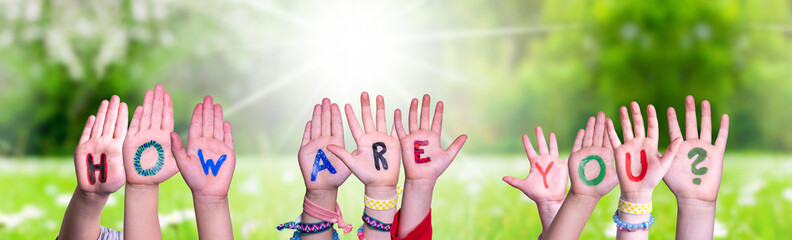 Children Hands Building Colorful English Word How Are You. Sunny Green Grass Meadow As Background