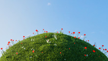 3D Green Hill Of Grass With Small Red And White Flower Isolated Over A Blue Sky Background.