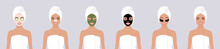 A Set Of Six Vector Stock Flat Illustrations. A Young Girl Wrapped In A Towel, With A Towel On Her Head, With Different Types Of Cosmetic Masks On Her Face. The Concept Of Self-care For The Skin