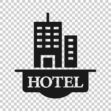 Hotel Sign Icon In Flat Style....