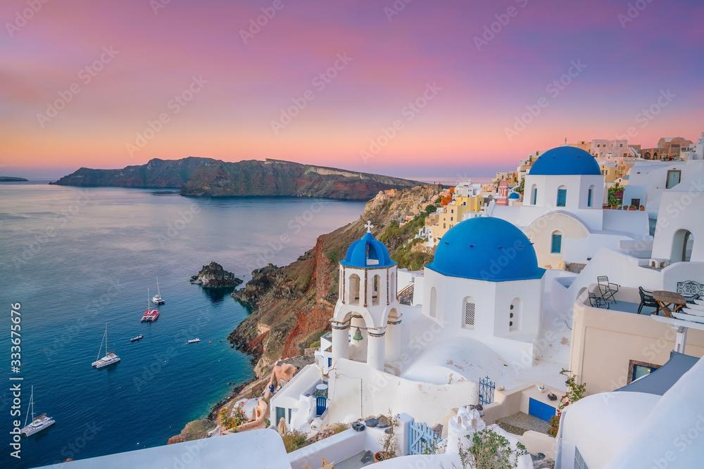 Fototapeta Oia town cityscape at Santorini island in Greece