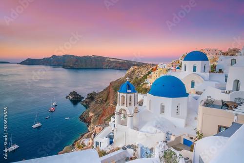Obraz na plátně Oia town cityscape at Santorini island in Greece