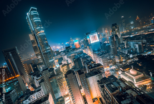 Rooftops of Futuristic Skyscrapers at Night, Hong Kong Fototapet