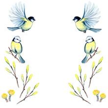 Watercolor Illustration Of Spr...