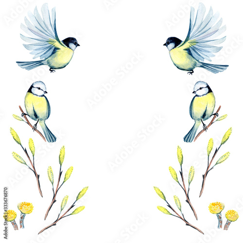 watercolor illustration of spring frame with flowers and tit  Fototapete
