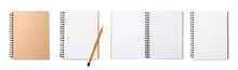 Set Of Notebooks On White Background, Top View. Banner Design