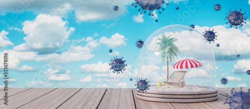 Fotografia Pandemic virus quarantine period for travel destinations and summer vacations