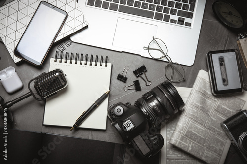 Flat lay composition with equipment for journalist on grey table Canvas Print