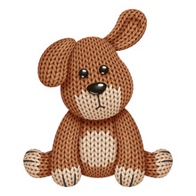 Illustration Of A Funny Knitted Dog Toy. On White Background