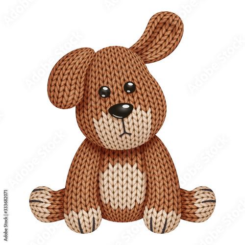 Illustration of a funny knitted dog toy. On white background Fototapeta