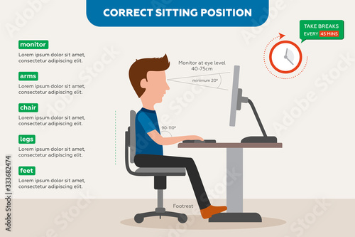 Photo Ergonomics correct sitting posture for office workers