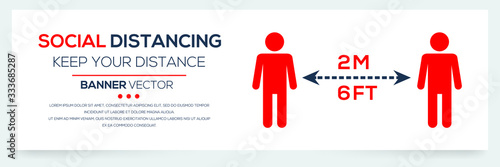 Fotografie, Tablou Creative (social distancing - keep your distance ) Banner Word with Icons ,Vector illustration
