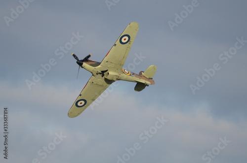 Obraz na płótnie British Royal Air Force (RAF) Merlin Spitfire in Flight at Air Show, England,  U