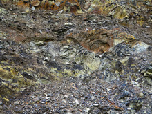 Volcanic Rock In Mountains With Layers