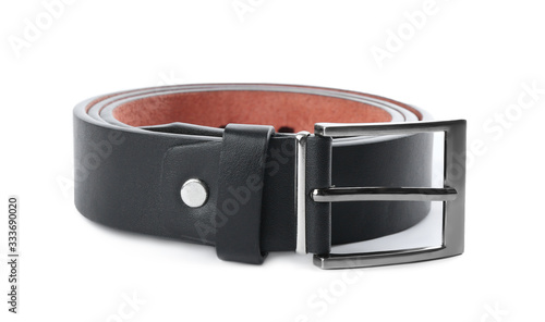 Valokuvatapetti Stylish black leather belt isolated on white