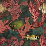 Ocean floor wallpaper pattern for fish, colorful, coral reefs, aquatic plants - 333695275